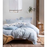 Linen House Deluxe Waffle Soft Blue Queen Quilt Cover Set