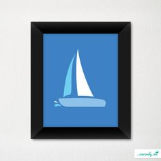 Custom Modern Children's Room Art Print / Nursery Decor / Newborn / Sailboat / Sailing Theme / Choice of color. $21.00, via Etsy.