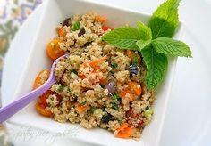 Quinoa Salad with Yellow Tomatoes, Kalamata Olives, Basil + Mint
