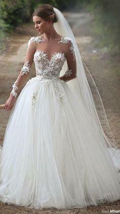 Fashion Lace/Tulle Wedding Dress Ball Gown ,Bridal Dresses Ball Gown Wedding Dress with Long Sleeves - Brautmode/ Hochzeit/ Brautkleid - Wedding dresses