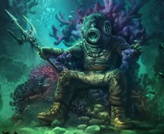 City Beneath the Sea Diver Tattoo, Sea Tattoo, Ocean Tattoos, Tiki Tattoo, Beneath The Sea, Under The Sea, Deep Sea Diver, Desenho Tattoo, Sea Art