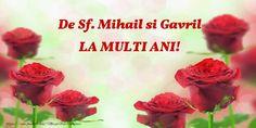 De Sf. Mihail si Gavril ... La multi ani! Birthday Wishes, Rose, Plants, Mai, Women's Fashion, Facebook, Happy Anniversary, Dates