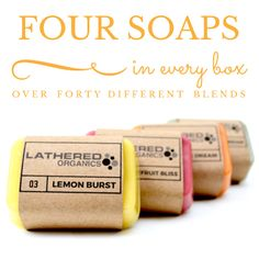 Luxurious, organic, monthly bathing box full of soaps & surprises.