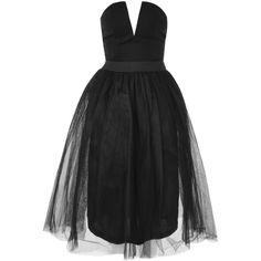 Bustier Tutu Midi Dress by Rare (4.220 RUB) ❤ liked on Polyvore featuring dresses, black, mid calf cocktail dresses, plunge-neck dresses, plunging neckline cocktail dress, midi slip dress and bustier dress