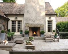 Gorgeous outside fireplace