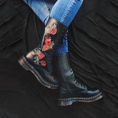 Dr. Martens - Vonda Embroidered 14 Eye Boots - #fashion #shoes #boots #drmartens #grunge