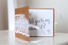 Casamento feito à mão: Convite das madrinhas {kraft e renda}