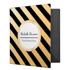 Faux Gold and Black Stripe | Binder - black gifts unique cool diy customize personalize