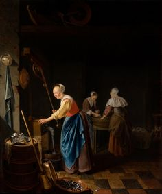 The Interior of a Kitchen by Pieter Cornelisz. van Slingelandt, c 1659.