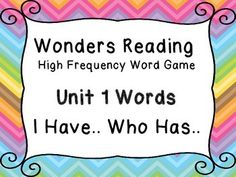 High Frequency Word I Have You Have Wonders Reading Unit 1