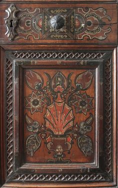 Red painted wardrobe, Vienna, The Austrian Museum of Folk Life and Folk Art, front panel