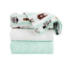 Baby Tula's 'Clever' baby blanket set is perfect for any infant, baby or toddler. Tula Baby Blankets are cozy yet breathable for cuddles, swaddles or play. 'Clever' sports creatures in trendsetter fashion and a triangular pattern that coordinates with our Tula carrier, 'Equilateral'. This lush baby blanket will be available as a single blanket or as a 3 blanket set with two jacquard weave blankets; one in mint and one in white, with a large repeating triangle design.