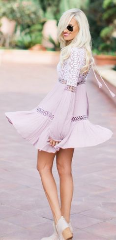 Pink Printed Dress / Cream Booties
