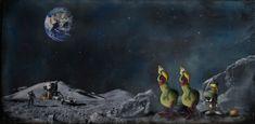 #Original #Abstract #Painting #Encaustic #MixedMedia #Marvin #Art #Wax #Cartoon #Martian #Space #Parody #Moon #Landing #Trespasser