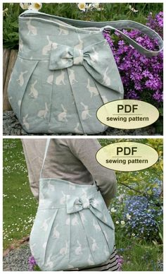Sewing pattern for a cute purse. A large bag at 14 inches, but still feminine with folds and a bow. Simple pocket pattern for sewing. Cute handbag for sewing. Sewing pattern for shoulder bag. Bag Sewing Pattern, Crochet Bow Pattern, Bag Patterns To Sew, Sewing Patterns Free, Corset Pattern, Sewing Hacks, Sewing Tutorials, Sewing Tips, Bags Sewing