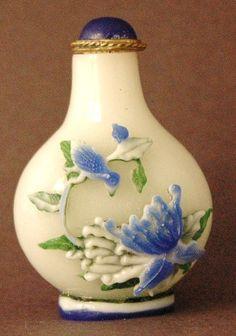 Chinese Antique Peking Glass Perfume Bottle: BIRDS/FLOWERS