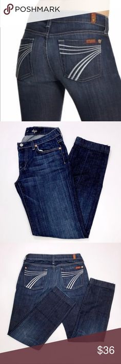 """7FAM Dojo Jeans SIGNIFICANTLY ALTERED! Originally a size 29, the waist has been taken in to 15"""" flat (approx size 28). Hem altered to a taper instead of a boot cut and measures 31"""" in length.  Excellent Condition...see pics! 7 For All Mankind Jeans"""