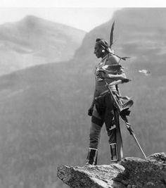 """Native American Indian in Montana - """"The Eagle."""" Blackfoot Glacier National Park Photo: photo by Roland Reed,1913."""
