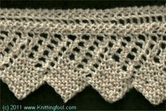 Square Edge Lace Edging - Knittingfool Stitch Detail