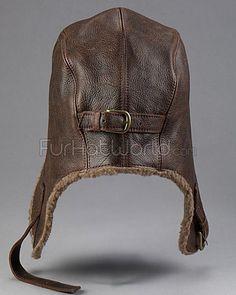 Vintage Distressed Leather Aviator Pilot Hat