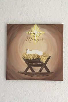 Painting christmas on canvas diy 20 ideas for 2019 Christmas Manger, Christmas Wood, Christmas Pictures, Christmas Crafts, Christmas Ideas, Nativity Painting, Tole Painting, Diy Painting, Christmas Paintings On Canvas