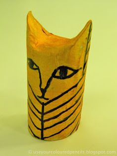 Use Your Coloured Pencils: Egyptian Cat Mummies Ancient Egypt Crafts, Egyptian Party, Toilet Paper Crafts, Recycled Art Projects, 6th Grade Art, Scratch Art, Africa Art, Coloured Pencils, Preschool Art