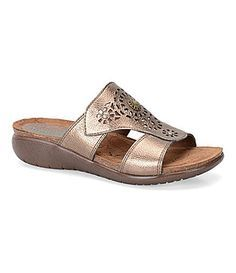 a6bbb908121 Montana Marly Metallic Laser Cut Wedge Slide leather copper 1.5h sz7 19.99