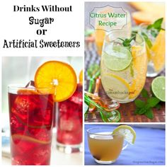 Yummy suggestions for drinks without sugar or artificial sweeteners #flavoredwater #herbaltea