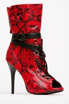 Dollhouse Faux Snake Print Lace Up Wrap Booties