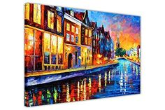 Holland Fine Art Europe Painting On Canvas By Leonid Afremov Amsterdam Sunday Night. Size: 36 x 30 inches cm x 75 cm) Original rest oil paintings on canvas This is the best possible quality of rest in person made by Leonid Afremov. Oil Painting On Canvas, Painting Prints, Art Prints, Painting Art, Painting Flowers, Modern Art Paintings, Landscape Paintings, Landscape Art, Amsterdam Art