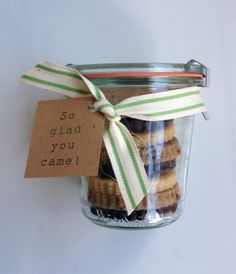 Wedding or Bridal Shower Favor Weck jars filled with cookies by Casue (www.casuesweets.com)