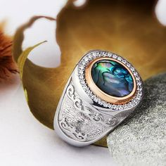 HEAVY Antique Victorian Natural Abalone SOLID 925 STERLING SILVER Mens Ring #Handmade