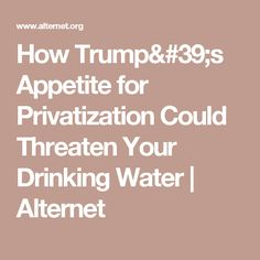 How Trump's Appetite for Privatization Could Threaten Your Drinking Water | Alternet