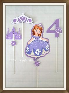 Sofia the first birthday party centerpieces/table decoration CENTERPIECES) Birthday Party Centerpieces, Party Table Decorations, Birthday Decorations, Party Themes, Ideas Party, Sofia The First Birthday Party, 4th Birthday Parties, Mason Jar Party, Princesa Sophia
