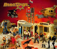 "A catalog photo featuring a diorama of Mattel's ""BraveStarr"" action figures and vehicles"