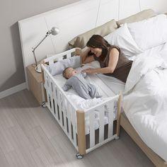 Minicuna/Cuna de Colecho (50 x 90 cm.) Cotinfant Doco Sleeping blanco/natural con textil Estrellas gris