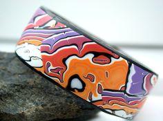 Bangle bracelet, Polymer clay bracelet, polymer bangle bracelet, waves design, OOAK handmade $35.00