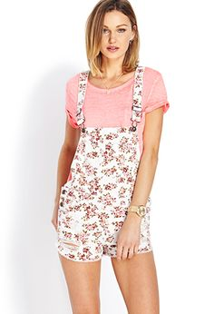 Distressed Floral Overall Shorts | FOREVER21 - 2000089475