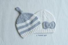 Cashmere twin hats / newborn twin set / twin photo by SOFTKNOT, $69.99