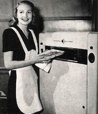 """""""With the end of WWII in sight, Raytheon execs realized that their highly profitable radar business would have to be retooled for the private market. Spencer had long considered the heating possibilities of the radar; engineers were often seen stopping by the huge bank of waves to warm their hands. (Right: an early home microwave. Photograph via Pocket Gadget.)"""""""