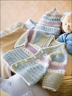 New crochet baby boy layette sweets 38 ideas Crochet Bebe, Crochet For Boys, Knitting For Kids, Baby Knitting, Knit Crochet, Crochet Jacket, Crochet Baby Cardigan Free Pattern, Crochet Children, Sweater Patterns