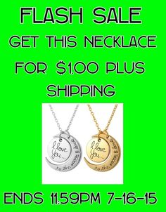 Nvyyou is looking for reps. One month old company. $15 to join. 20% commissions on your sales, 6% on second level and 4% on third. We have monthly incentives and store specials. Wide variety of items. Here is our special today.NVYYOU FLASH SALE GET THIS I LOVE YOU TO THE MOON AND BACK NECKLACE FOR ONLY $1.00 PLUS SHIPPING. CHOOSE SILVER OR GOLD. ENDS TONIGHT 7-16-15 AT 11:59 PM. DONT MISS OUT GRAB IT WHILE ITS AVAILABLE. ONE PER PERSON PER VISIT. www.nvyyou.com(US & Canada)