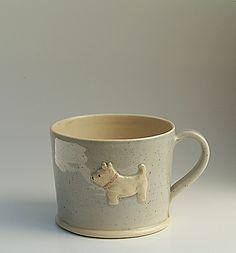 Mug - Westie on denim blue by Hogben Pottery supper cute cups.