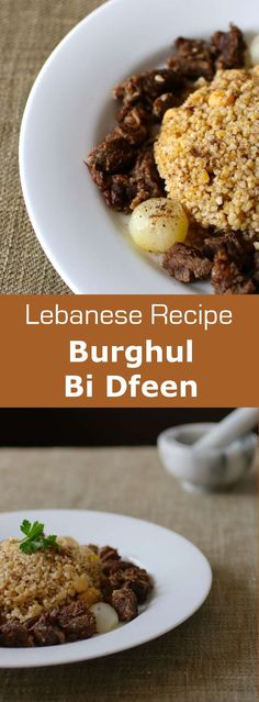 Discover burghul bi dfeen, an authentic Lebanese recipe based on bulgur and chickpeas which is usually served with yogurt. Lebanese Cuisine, Lebanese Recipes, Around The World Food, Good Food, Yummy Food, Eastern Cuisine, Exotic Food, Middle Eastern Recipes, Arabic Food