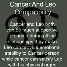 Cancer man leo woman compatibility 2018