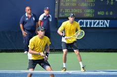 Bob and Mike Bryan in action on Day 4 of the 2013 US Open.