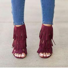maroon fringe heels- Fringe bags and boots collection http://www.justtrendygirls.com/fringe-bags-and-boots-collection/