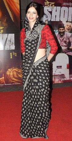 Kalki Koechlin at the premiere of 'Dedh Ishqiya'. Traditional print sari - different sari draping idea
