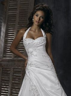 V Neck Halter Wedding Dresses Chapel Train A Line Taffeta 140 Ideas Dreams Pinterest Her Hair And Trains