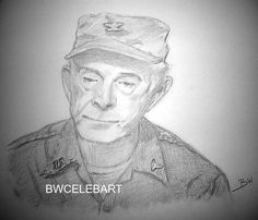 M*A*S*H* COL. POTTER HARRY MORGAN ARMY DOCTOR GRAPHITE ORIGINAL PENCIL DRAWING  #Realism